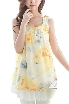 68b3f34724a3e Bearsland Women's Chiffon Sleeveless Summer Breastfeeding Nursing Top  Yellow UK Size 14-16: Amazon.co.uk: Clothing