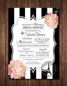 Parisian French Themed Bridal Shower Invitations - Eiffel Tower - Fleur De Lis - Paris France - Black & White Striped or Free Custom Colors - Pink Peony or White Magnolia - Printed Invites with Envelopes
