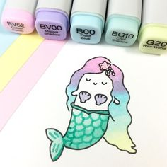 A gorgeous Mer-Spooky appeared! ✨ It's not really a scary Halloween costume, but Spooky always dreamed of being a mermaid!  Love seeing some of you guys drawing Spooky, too!  I will post some doodles from you in my IG story later ✨ #可愛い #かわいい #mermaid #spookymccute #inktober #mermaidhair #copicmarkers #pastel #kawaii #inktober2016