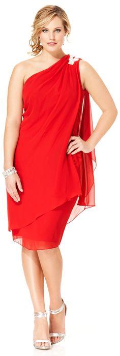 The perfect Christmas party dress? Plus Size Embellished Chiffon One Shoulder Dress Plus Size Dressy Dresses, Plus Size Red Dress, Plus Size Party Dresses, Plus Size Dresses, Plus Size Outfits, Formal Dresses, Short Dresses, Curvy Fashion, Plus Size Fashion