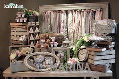 www.kamalion.com.mx - Mesa de Dulces / Candy Bar / Postres / Baby Shower / Rosa & Gris / Pink & Gray / Vintage / Rustic Decor.