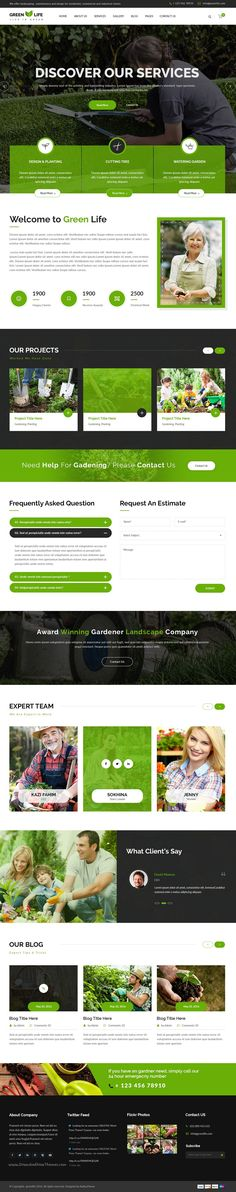GreenLife is perfect premium #PSD #template for #gardening, landscaping or lawn…