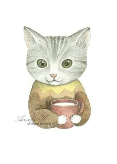 Signed Art Print of Original Pencil Drawing, Whimsical Cat Illustration - Fritz and His Kitty Cup by Amalia K
