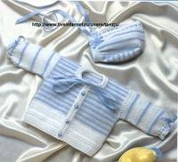 Два детских комплекта в бело-голубой гамме (спицы).