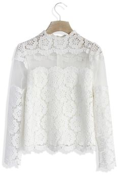 White Flower Dance Mesh Crochet Top | #USTrendy  www.ustrendy.com