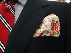 Cotton pocket square sewn by hand - red and cream floral on Etsy, $19.75