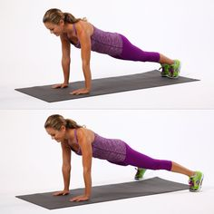 Begin in plank position with your feet together. Keep your upper body stable, and engage your abs.  Begin d...
