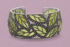 Sterling Silver Cuff Bracelet, Green Epoxy/Marcasite, 1-1/8 inch wide, Oxidized, 7 inch Silver Messages. $459.99