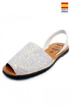 Sandale Avarca din piele naturala Glitter, alb