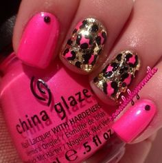 Golden Cheetah nails with Pink. :)