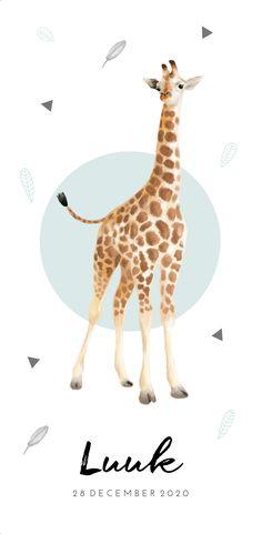 Origineel babykaartje met giraf, mintgroen en zwart. lief en bijzonder!