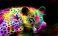 fractal animals | tags fractal animal rainbow colored jaguar black background 3d ...