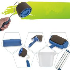 8 Pcs/Set Paint Roller Set with Sticks Paint Roller Pro Decorate Runner Tool Painting Brush Set Painting Corner, Diy Wall Painting, Flow Painting, House Painting, Painting Tools, Paint Runner, Corner Cutter, Broom Handle, Traditional Paint
