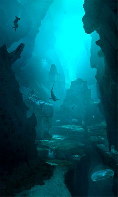 Assassin's Creed IV: Black Flag Concept Art  Omri and Brie and Zeno dive into the depths of the ice capped ocean to find the castle of the Brill- the MerKingdom.