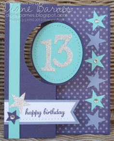 Stampin Up teen flip birthday thinlits card by Di Barnes #stampinup #stampinupau #colourmehappy
