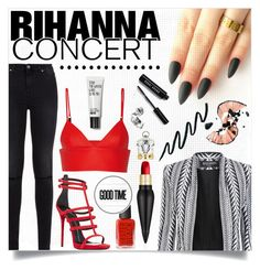 """""""Hot Ticket: Rihanna Concert"""" by jessinerio4l ❤ liked on Polyvore featuring Balmain, 7 For All Mankind, T By Alexander Wang, Giuseppe Zanotti, Christian Louboutin, Bobbi Brown Cosmetics and Rihanna"""