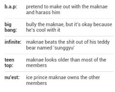 XD Basically...I'm a fan of all these bands, at different levels. From BIGBANG Or Nu'est, to B.A.P. Sorry, but B.A.P. is too hardcore for me, and that's saying something.