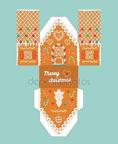 Printable gift gingerbread house with christmas glaze elements. Easy for installation - print, cut, fold it. House 3 d Paper Craft.Vector picture shapes for children. Gingerbread House Template, Cool Gingerbread Houses, Christmas Gingerbread House, Miniature Christmas, Christmas Paper, Christmas Crafts, Christmas Houses, Gingerbread Icing, Vector Christmas
