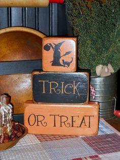 Trick or Treat Primitive Halloween Wood Block