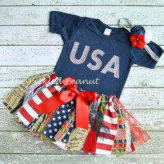 Red White Blue Baby Outfit Military USA Baby 4th of July Baby Outfit Baby Tutu Baby Skirt 1st Birthday Homecoming Baby Girl Stars Stripes