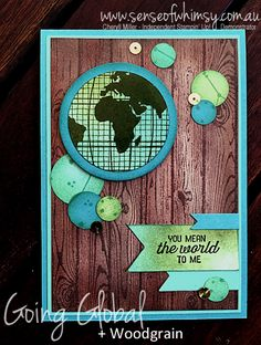 A card suitable for male or female using Going Global stamp set and Hardwood background stamp. Loving the wood grain panel, created by stamping and sponging.