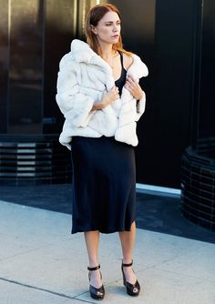Slip Dress + Furry Coat