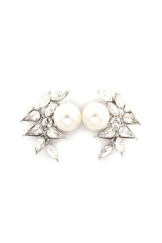 Marquise Perl Earrings in Silver   on Emma Stine Limited.com