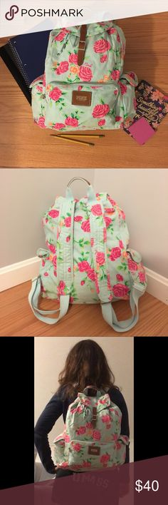 Victoria's Secret PINK Floral Cinch Backpack This is a beautiful bag. Great for back-to-school. One of Victoria's Secret's first line of PINK cinch bags. Has a few ink spots on the bottom of the bag, but shouldn't be too hard to get out. PINK Victoria's Secret Bags Backpacks