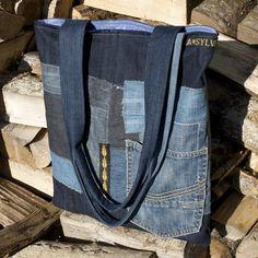 TOTE BAG Denim & Taffetas : Sacs à main par la-sylve
