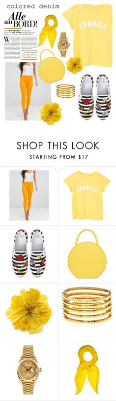 """Sunshine monochrome"" by sarah-rayye ❤ liked on Polyvore featuring ASOS, MANGO, BP., Gucci, Kenneth Jay Lane, Rolex and Hermès"