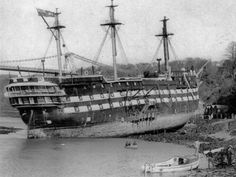 HMS Conway wrecked while passing through the Menai Strait known as the Swellies on April Old Sailing Ships, Uss Constitution, Abandoned Ships, Ship Of The Line, Ghost Ship, Naval History, Wooden Ship, Navy Ships, Model Ships