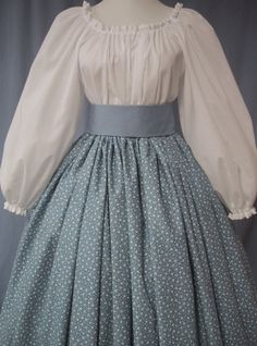 Calico Long Skirt Historical Costume - Pioneer, Frontier, Colonial, Civil War - Country Blue Print Cotton Handmade