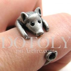 $10 Miniature Piglet Pig Ring in Silver - Sizes 4 to 8.5 Available Oh my gosh I want this so bad!