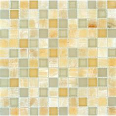 MS International Honey Ivory Onyx 12 in. x 12 in. x 8 mm Glass Stone Mesh-Mounted Mosaic Tile-THDW3-SH-HIOB-8 - The Home Depot