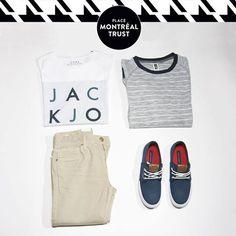 #PMTLook  Habillez votre homme avec une touche de marin !  Pantalon & T-Shirt - #JackandJones Pull & souliers - #Winners #PlaceMtlTrust #Shopping #Look #Homme #Mode #Fashion #Montreal #Mtl