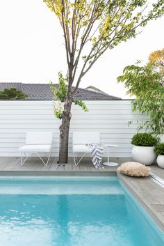 Perth Landscape Design to transform your outdoor spaces. Denise will work with you to create a garden design which is tailored to you, your lifestyle and your property so you can live in a space you love! Small Backyard Design, Small Backyard Pools, Swimming Pools Backyard, Swimming Pool Designs, Garden Pool, Pool Landscaping, Hampton Pool, Fence Around Pool, Pools For Small Yards