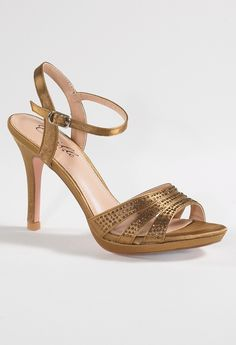 Low Heel Platform Satin Sandal with Rhinestones from Camille La Vie
