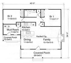 First Floor Plan of Country   House Plan 49151