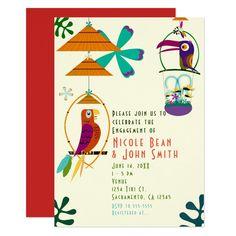 Shop Tiki Birds Birthday Party Vintage Luau Invitations created by printabledigidesigns. Acrylic Invitations, Floral Invitation, Floral Wedding Invitations, Custom Invitations, Tiki Wedding, Wedding Ideas, Bird Birthday Parties, 25th Birthday, Birthday Ideas