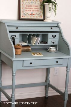 Small Desk for the Living Room Desk Makeover, Furniture Makeover, Repurposed Furniture, Painted Furniture, Dining Furniture, City Furniture, Stain Furniture, Office Furniture, Small Roll Top Desk