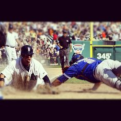 Quintin Berry sliding into home in the 10th inning against the Blue Jays, 05 Aug 2012.