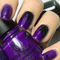 Purple FlamesKinda perfect for dressing up as Maleficent for #HALLOWEEN . Polishes are #chinaglazeofficial Looking Bootiful and Cackle If You Want To and @cucciocolour 2AM in Hollywood all from @hbbeautybar . Also Flame Vinyls from @snailvinyls . New Nails