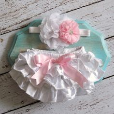 READY TO SHIP Baby Girl Ruffle Bum Bloomers Pink and White Satin Diaper Cover 0 3 months Photography Prop Newborn Headband Set on Etsy, $20.95