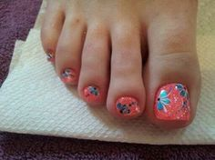 toe nail art ideas for beginners - styles outfits Nail Art Designs, Pedicure Designs, Pedicure Nail Art, Toe Nail Art, Blue Pedicure, Pedicure Ideas, Pretty Pedicures, Pretty Nails, Hot Nails