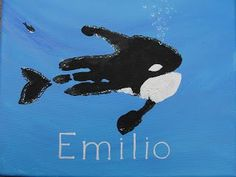 I've taken a break from making beads by painting. This one is an orca painted from a handprint. I first first painted the background a. Whale Crafts, Ocean Crafts, Baby Crafts, Kids Crafts, Toddler Art, Toddler Crafts, Footprint Crafts, Whale Art, Handprint Art
