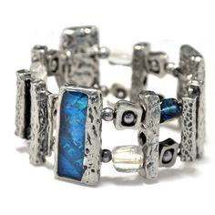 Chunky pewter bracelet blue stretch by BijouChantaleGelinas