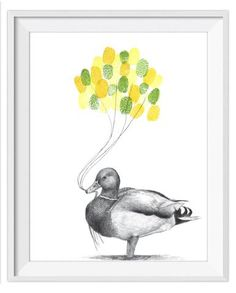 If it looks like a duck and quacks like a duck...yes it's the rubyrose duck! This mallard drawing works well for baby showers, birthday parties and as a gift for Dad and Grandad. Simply place inked fingers on the print to create a bundle of balloons strung from the mallard's flat bill.