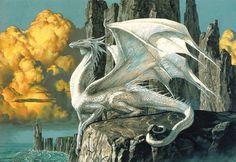 A serene, imposing silver dragon by Ciruelo Cabral.