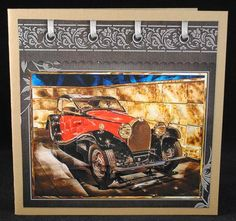 Red Bugatti car card with stackers on Craftsuprint designed by Angela Wake - made by Yvonne Middleton -