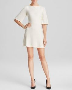 Alice   Olivia Dress - Maely Leather Trim  Bloomingdale's